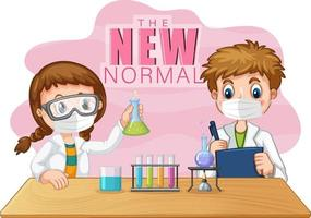 The New Normal with two scientist kids wearing face masks vector
