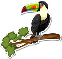 A sticker template of toucan cartoon character vector