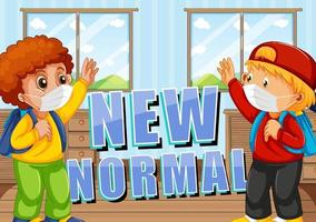 New Normal with students keeping social distancing vector
