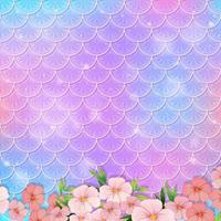 Pastel mermaid scale pattern with many flowers vector