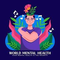concepto del día mundial de la salud mental vector