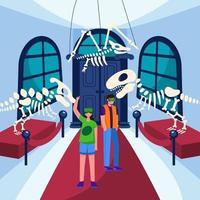 Virtual Tourism to Prehistorical Museum vector