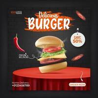 Food menu banner template for social media promotion. vector
