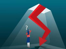 Businesswoman looking down at the falling arrow. Business and finance vector
