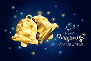 Wireframe Merry Christmas Bell luxury gold geometry Concept Design. vector