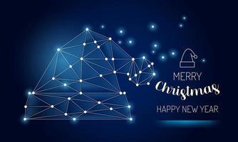 Wireframe Merry Christmas Santa hat .Vector illustration. vector