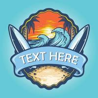 Surf Board Logo Landscape Vintage Illustrations vector