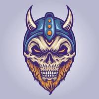 Viking Skull Head with Horn Helmet vector