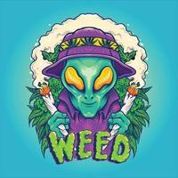 Alien Smoking Summer Cannabis Plants vector