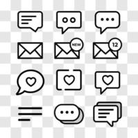a set of message icon, simple cute line style - perfect pixels vector