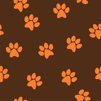 Seamless pattern of orange cat footprint with dark brown background vector
