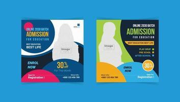 Kids school education admission Social Media Post template vector
