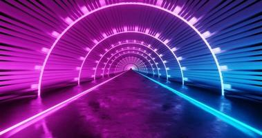3d rendering pink and blue neon tunnel background. video