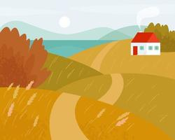 Fall landscape with road and white house. Autumn fields. vector