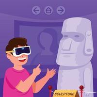 niño visitando el museo de arte usando la aplicación de visita virtual vector