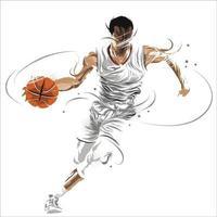 basketball player splatter dribbling ball vector
