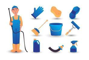 car wash tool illustration carton set vector