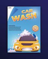 car wash poster with full foam car cartoon illustration vector