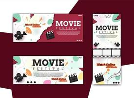 set of design banners for film festival vector
