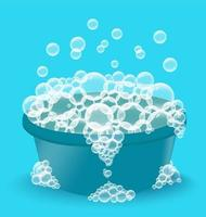 Blue plastic basin with soap suds. Bowl with bubbles. Laundry vector
