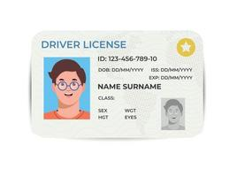 Drivers License. A plastic identity card. Vector flat template