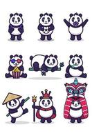 set of cute panda character cartoon vector