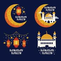Collection of modern ramadan badges or label vector