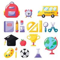 a set of collection of school equipment vector