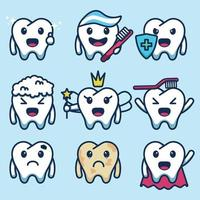 set cute tooth character vector