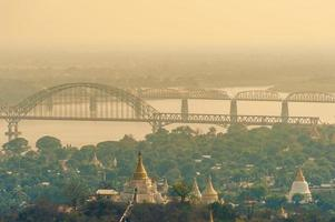 Aerial view from the Sagaing Hill in Mandalay, Myanmar Burma photo