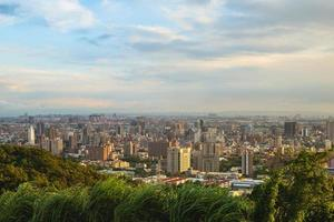 View over Taoyuan City from Hutou mountain in Taiwan at dusk photo