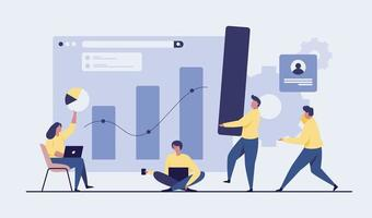 People analyzing growth charts. business illustration vector