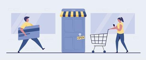 Open the door to online shopping illustration vector