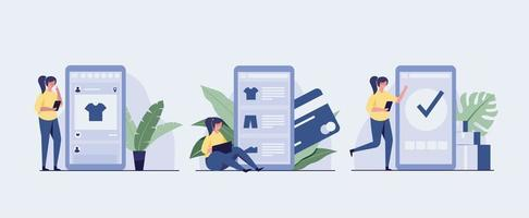 Set of three online shopping step illustration vector