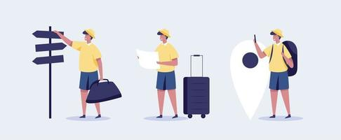 Young man traveling concept illustration. vector