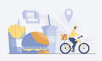 Cyclist delivering food to customers. vector