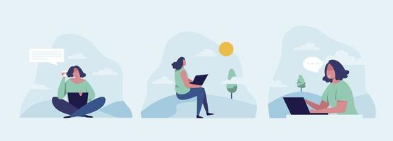 Women freelance with laptop sitting on bench in park concept. vector