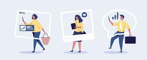 eople looking at phone with social media concept. vector