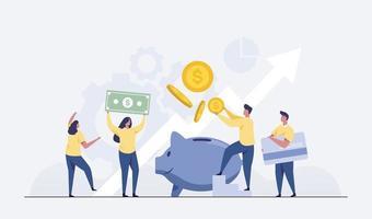 ganancias de inversiones en acciones. ahorrar dinero concepto financiero. vector
