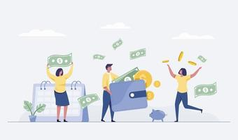 business team celebrates success standing hold money. vector