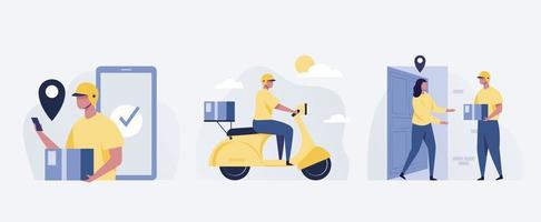 Delivery service. Woman receiving parcel from courier on doorstep. vector