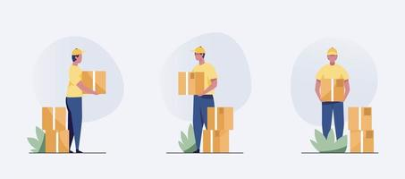 Men characters with parcels packages boxes. vector
