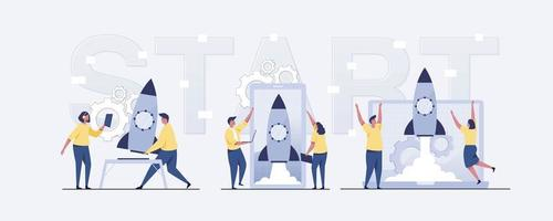 Flat-hand drawn people starting a business project. vector