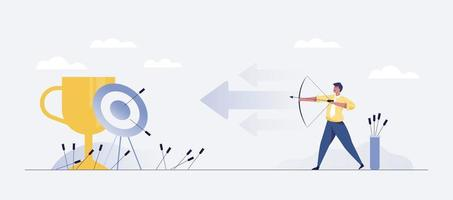 Successful Hit. Businessman hit the target. Business illustration. vector