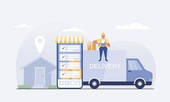 Online delivery van service concept. vector