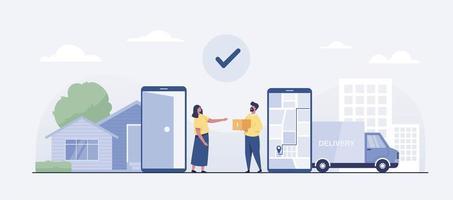 Online delivery van service concept.  vector illustration
