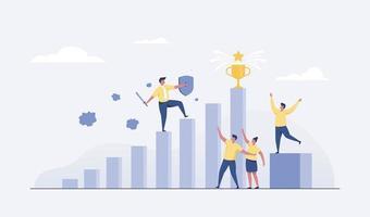 Business success, leadership vector illustration.