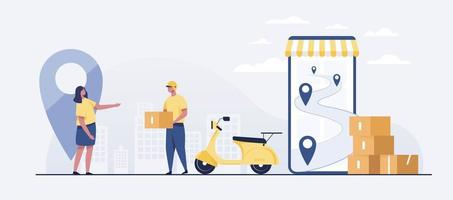 Fast delivery package by scooter on mobile phone. vector