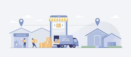 entrega rapida de tienda a casa con camion. ilustración vectorial vector
