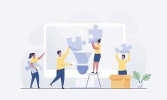 idea de negocio la metáfora del equipo conecta los elementos del rompecabezas. vector